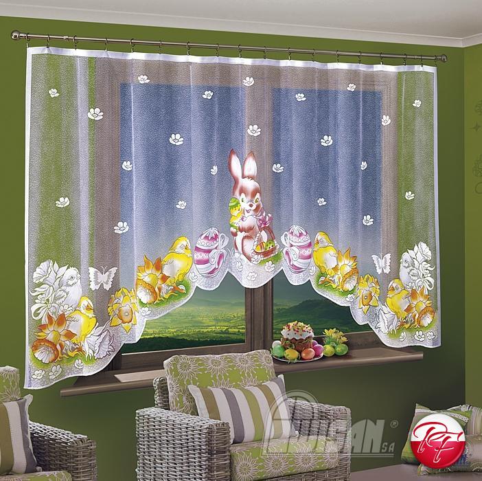 Wielkanoc Zajączek Firana 300x150cm